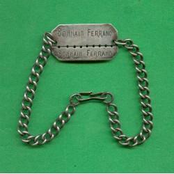 PLAQUE D'IDENTITE MILITAIRE TROUPE BONNAIN FERRAND 1926 A NIMES GUERRE 39-45