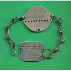 2 PLAQUES D'IDENTITE MILITAIRE TROUPE MAGNAN ADOLPHE 1929 A MARSEILLE GUERRE 39-45
