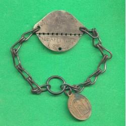 PLAQUE D'IDENTITE MILITAIRE TROUPE NOHARET REMI 1920 A PRIVAT GUERRE 39-45