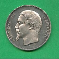 MEDAILLE EN ARGENT NAPOLEON III EXPOSITION DE MONTPELLIER 1860