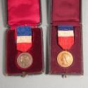 2 MEDAILLES DU MINISTERE DE LA GUERRE HONNEUR TRAVAIL 1914 ET 1919 ATTRIBUEES A LA MEME PERSONNE