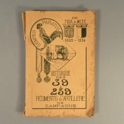 HISTORIQUE DES 39 ET 239 èmes REGIMENTS D'ARTILLERIE DE CAMPAGNE 1895-1934