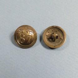 PETIT BOUTON NAPOLEON III 87 ème REGIMENT D'INFANTERIE DE LIGNE DIAMETRE 1.8 cm 1850-1870