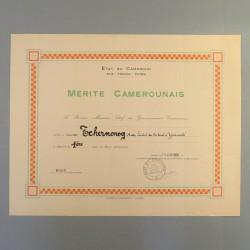 CAMEROUN DIPLOME DE LA MEDAILLE DE 1 ere CLASSE DU MERITE CAMEROUNAIS ATTRIBUE EN 1959 °