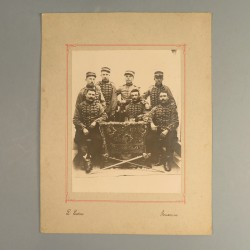 GRANDE PHOTO CORTONNEE DU 8 ème REGIMENT DE CHASSEURS A CHEVAL AUXONNE VERS 1900