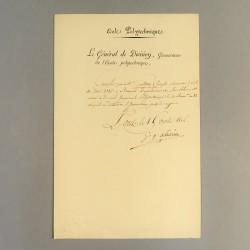 PREMIER EMPIRE CERTIFICAT D'ETUDE A L'ECOLE POLYTECHNIQUE SIGNEE LACUEE 1806 *