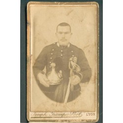 PHOTO CDV D'UN CAVALIER DU 2ème REGIMENT DE DRAGONS