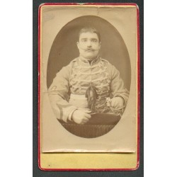 PHOTO CDV D'UN CAVALIER AU 8 ème REGIMENT DE HUSSARDS