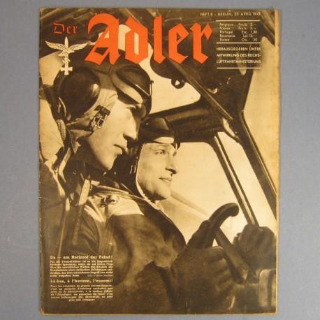 DER ADLER JOURNAL DE PROPAGANDE AVIATION ALLEMANDE N°8 DU 22 AVRIL 1941 LUFTWAFFE