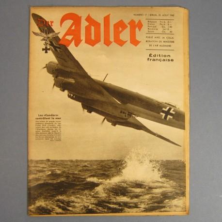 DER ADLER JOURNAL DE PROPAGANDE AVIATION ALLEMANDE N°17 DU 25 AOUT 1942 LUFTWAFFE