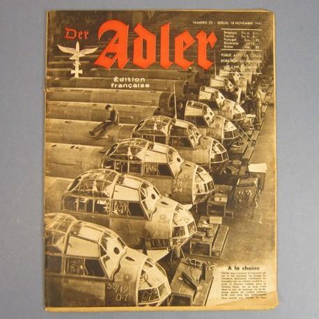 DER ADLER JOURNAL DE PROPAGANDE AVIATION ALLEMANDE N°23 DU 18 NOVEMBRE 1941 LUFTWAFFE