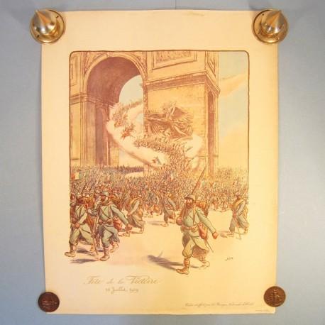 AFFICHE PATRIOTIQUE FETE DE LA VICTOIRE 14 JUILLET 1919 GUERRE 1914-1918