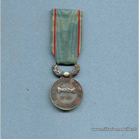 MEDAILLE DE LA SOCIETE ST CECILE HUMANITAIRE DE MARSEILLE FONDEE EN OCTOBRE 1880 NUMEROTEE 304