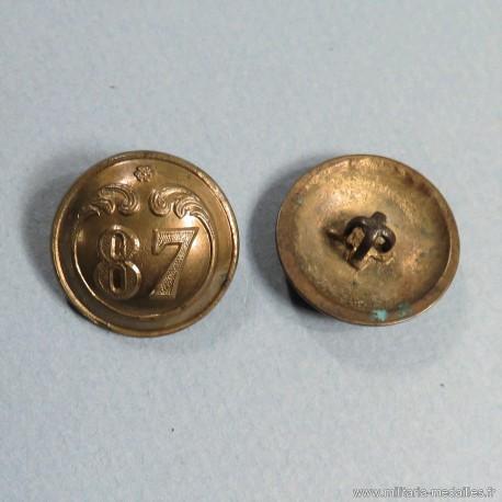 BOUTON NAPOLEON III 87 ème REGIMENT D'INFANTERIE DE LIGNE DIAMETRE 2.3 cm 1850-1870