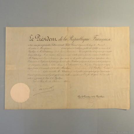LETTRE DE NOMINATION DE Mr GASPARY EMILE COMME CONSUL DE FRANCE A SINGAPOUR EN 1892 °