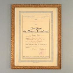 CERTIFICAT DE BONNE CONDUITE CHASSEUR DE 1 ère CLASSE AU 63 ème BATAILLON DE CHARS DE COMBAT AU LEVANT
