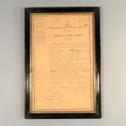 CERTIFICAT DE BONNE CONDUITE D'UN ARTILLEUR AU 15 ème REGIMENT DU TRAIN DES EQUIPAGES EN 1890