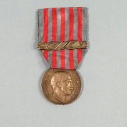 ITALY MEDAILLE POUR LA CAMPAGNE DE LYBIE VICTOR EMMANUEL III AVEC BARRETTE 1913-1914