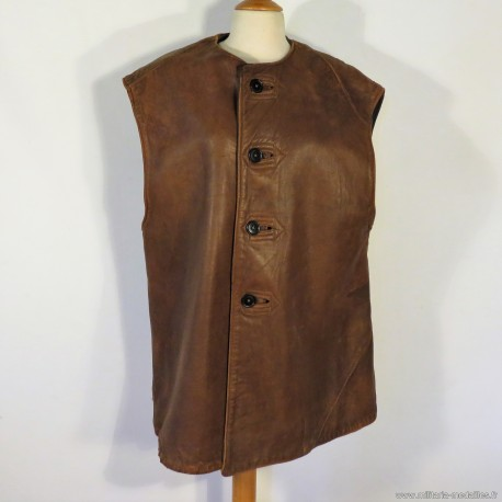 VESTE ANGLAISE EN CUIR SANS MANCHES JERKINS LEATHER WW2 TAILLE 1-2 BRITISH MADE