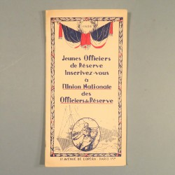 BROCHURE POUR JEUNES OFFICIERS DE RESERVE PAR L'UNION NATIONALE DES OFFICIERS DE RESERVE AVANT 1940