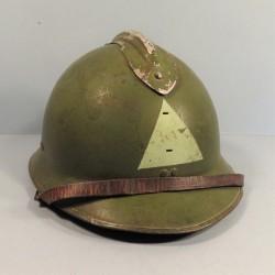 CASQUE DEFENSE PASSIVE MODELE 1926 TRIANGLE VERT VILLE DE NIMES 1939/1945 TAILLE 59/60