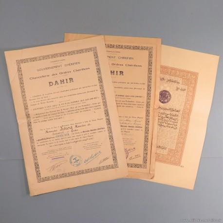 ENSEMBLE DE 3 DIPLOMES DE L'ORDRE MAROCAIN DU OUISSAM ALAOUITE CHERIFIEN DAHIR
