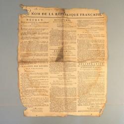 RARE !! AFFICHE DE PROCLAMATION DU COUP D'ETAT DU 18 BRUMAIRE PAR NAPOLEON BONAPARTE 1799 CONSULAT IMPRIMEE A STRASBOURG *