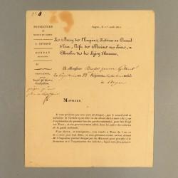 LETTRE DE 1812 DU BARON D'EMPIRE PREFET DE MAINE ET LOIRE A.P.F. HELY D'OISSEL A UN EX CAPITAINE DU 33 ème D'INFANTERIE *
