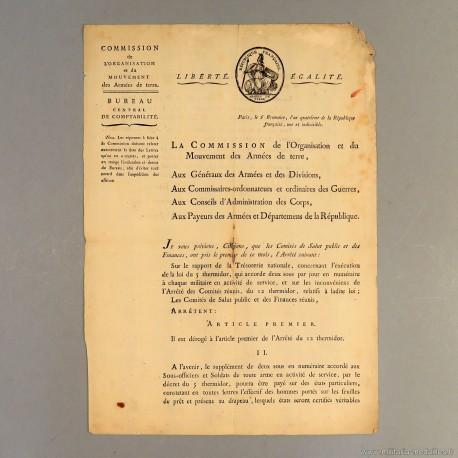 REVOLUTION LETTRE DE L'AN IV (1795) COMMISSION DE L'ORGANISATION ET MOUVEMENT DES ARMEES DE TERRE PAR LE GENERAL L.A. PILLE *