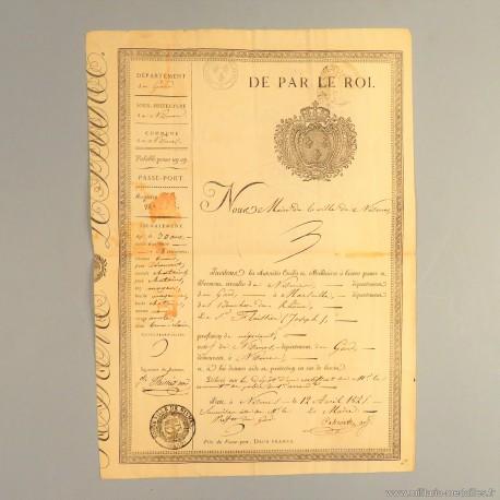 ARCHIVE CHARLES X PASSEPORT DE LA VILLE DE NIMES DU 12 AVRIL 1825