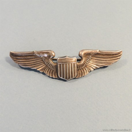 BREVET DE PILOTE AMERICAIN EN ARGENT FABRICATION FRANCAISE PILOT WINGS STERLING FRENCH MADE