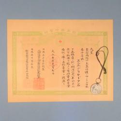 JAPON MEDAILLE DE LA CROIX ROUGE CLASSE ARGENT POUR INFIRMIERE AVEC SON DIPLOME 1919 ERE TAISHO