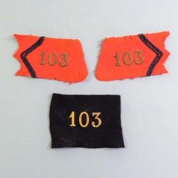 ENSEMBLE PATTES DE COL ET CHIFFRES D'OFFICIER DU 103 ème REGIMENT D'ARTILLERIE LOURDE 1900 1914