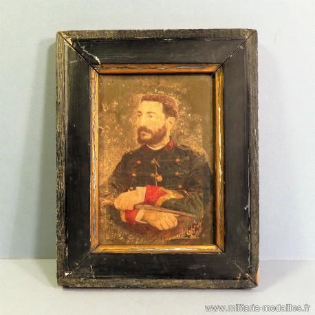 PETITE PEINTURE SUR BOIS OU PHOTO REHAUSSEE D'UN SERGENT ARTILLEUR VERS 1900