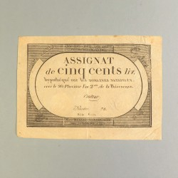 BILLET ASSIGNAT REVOLUTIONNAIRE DE 500 LIVRE AN 2 DE LA REPUBLIQUE N° 78 SERIE 6177 REVOLUTION FRANCAISE