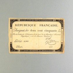 BILLET ASSIGNAT REVOLUTIONNAIRE DE 250 LIVRE AN 2 DE LA REPUBLIQUE N° 211 SERIE 8580 REVOLUTION FRANCAISE