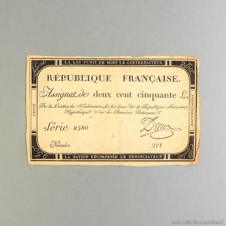 BILLET ASSIGNAT REVOLUTIONNAIRE DE 250 LIVRE AN 2 DE LA REPUBLIQUE N° 211 SERIE 8580 REVOLUTION FRANCAISE