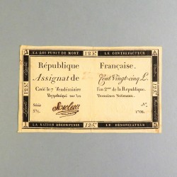 BILLET ASSIGNAT REVOLUTIONNAIRE DE 125 LIVRES AN 2 DE LA REPUBLIQUE N° 1708 SERIE 376 REVOLUTION FRANCAISE