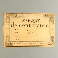 BILLET ASSIGNAT REVOLUTIONNAIRE DE 100 FRANCS AN 3 DE LA REPUBLIQUE N° 1976 SERIE 5486 REVOLUTION FRANCAISE