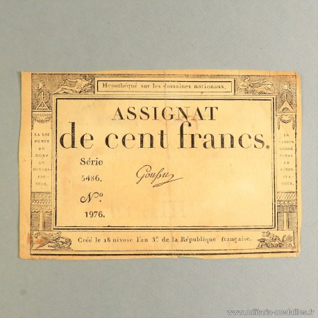 BILLET ASSIGNAT REVOLUTIONNAIRE DE 100 FRANCS AN 3 DE LA REPUBLIQUE N° 1976 SERIE 5486 REVOLUTION FRANCAISE