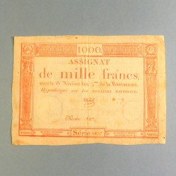 BILLET ASSIGNAT REVOLUTIONNAIRE DE 1000 FRANCS AN 5 DE LA REPUBLIQUE N° 187 SERIE 9827 REVOLUTION FRANCAISE