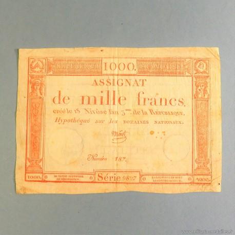BILLET ASSIGNAT REVOLUTIONNAIRE DE 1000 FRANCS AN 5 DE LA REPUBLIQUE N° 187 SERIE 9827 REVOLUTION FRANCAISE