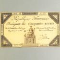 BILLET ASSIGNAT REVOLUTIONNAIRE DE 50 LIVRE 1792 AN 1 DE LA REPUBLIQUE N° 873 SERIE 1188 REVOLUTION FRANCAISE