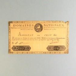 BILLET ASSIGNAT REVOLUTIONNAIRE DE 100 LIVRE 1791 LOUIS XVI N° 20940 REVOLUTION FRANCAISE