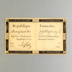 BILLET ASSIGNAT REVOLUTIONNAIRE DE 125 LIVRES AN 2 DE LA REPUBLIQUE N° 1824 SERIE 1296 REVOLUTION FRANCAISE