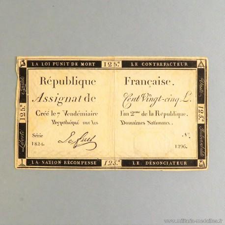 BILLET ASSIGNAT REVOLUTIONNAIRE DE 125 LIVRES AN 2 DE LA REPUBLIQUE N° 1824 SERIE 1296 REVOLUTION FRANCAISE
