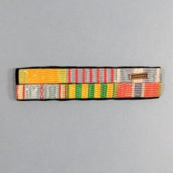 BARRETTE DE RAPPEL D'UN PLACARD DE 6 MEDAILLES D'UN ANCIEN SOUS OFFICIER DE LA GUERRE 1939 1945 INDOCHINE PRISONNIER