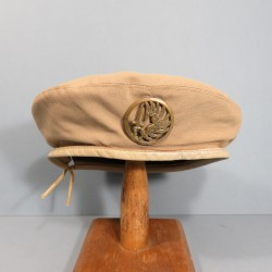 BERET BEIGE FABRICATION TAILLEUR 3 PARTIES PARACHUTISTES TAP INSIGNE FANTAISIE FABRICATION MOURGEON 1950 - 1960