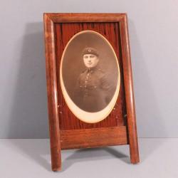 """CADRE AVEC PHOTO CARTE POSTALE D'UN """"AVIATEUR"""" SOLDAT DU 2 ème REGIMENT D'AVIATION GUERRE 1914 1918"""