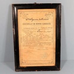 CADRE CERTIFICAT DE BONNE CONDUITE HUSSARD DE 2 ème CLASSE AU 5 ème REGIMENT DE HUSSARD DATE 1907